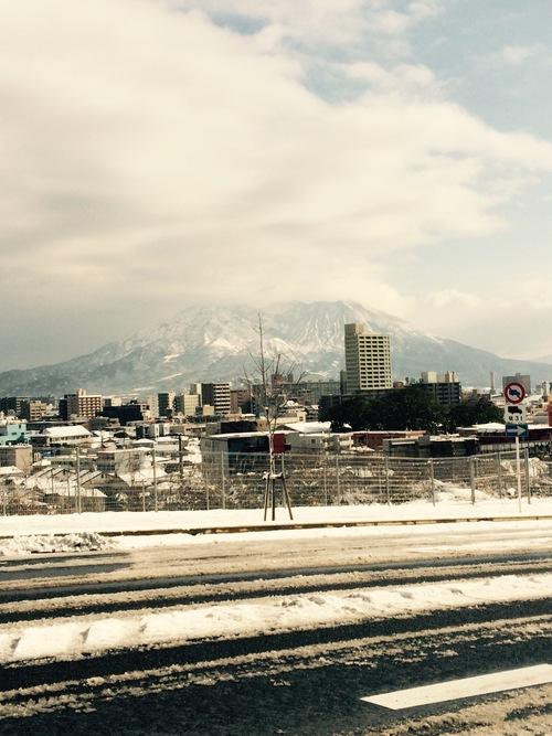 積雪桜島紫原方面より